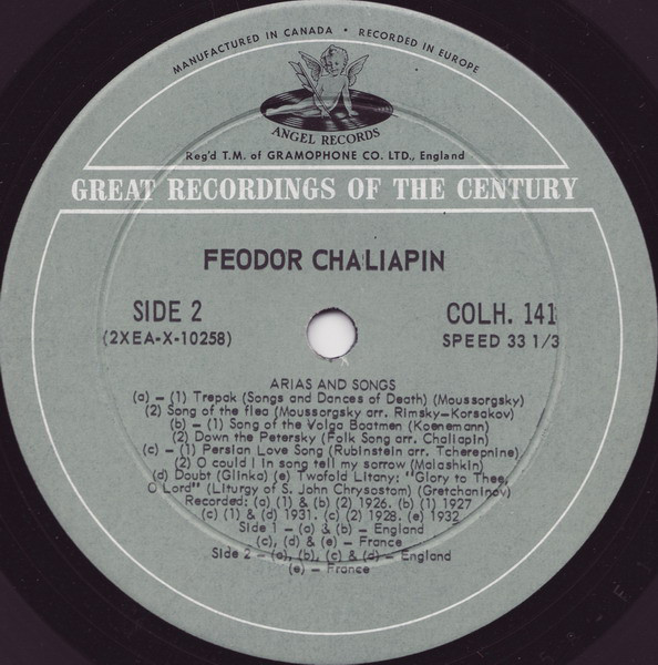 Feodor Chaliapin - Arias And Songs cover of release