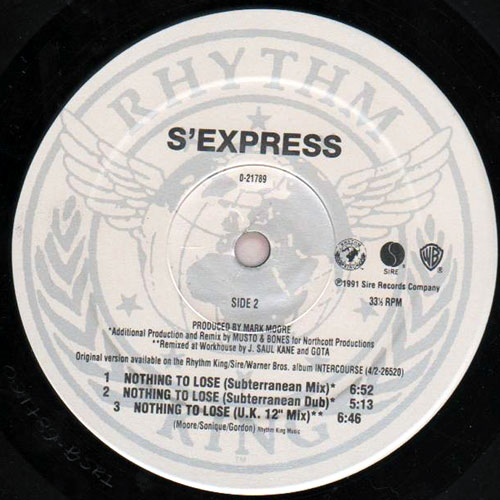 S'Express - Nothing To Lose cover of release