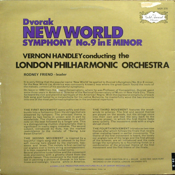 Antonín Dvořák, Vernon Handley, London Philharmonic Orchestra, The - New World Symphony cover of release