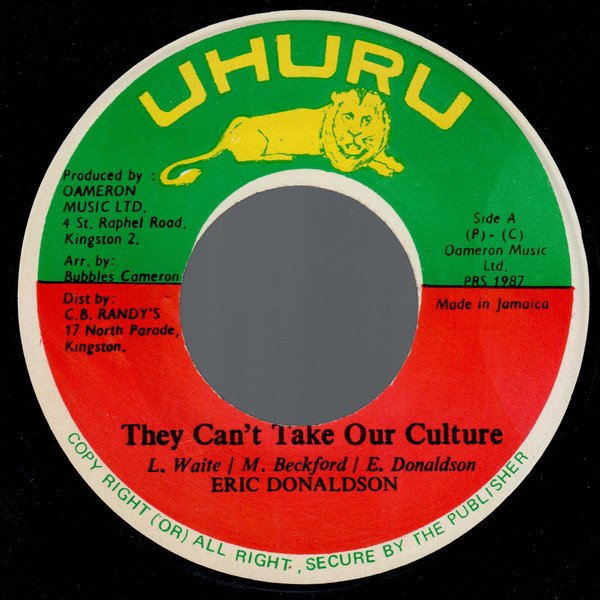 Eric Donaldson - They Can't Take Our Culture cover of release