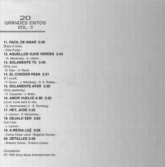 Ray Conniff - 20 Grandes Exitos Vol. II cover of release