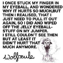 Wolfseule - I Once Stuck My Finger In My Eyeball And Wondered, Why It Hurts So Much, But Then I Realised, That I Just Need To Pull It Out Again, So I Did And Wiped The Jelly Eyeball-Stuff Off On My Jumper, I Still Couldn't See Then, But It Didn't Hurt That Much Anymore