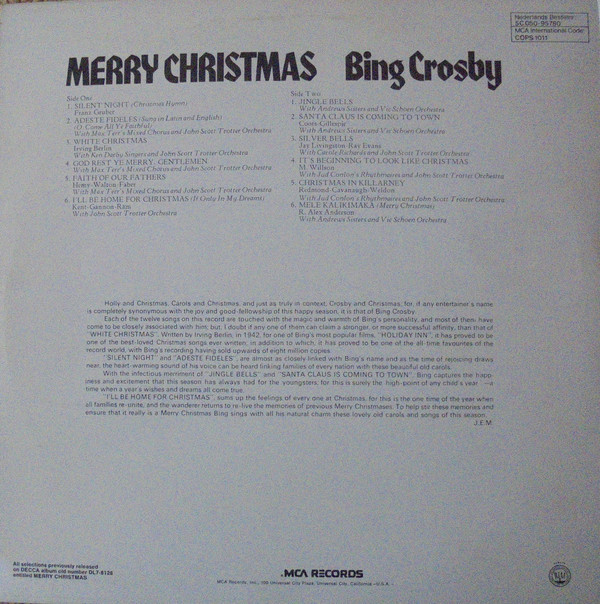 Bing Crosby - Merry Christmas cover of release