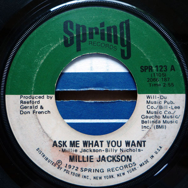 Millie Jackson - Ask Me What You Want / I Just Can't Stand It cover of release