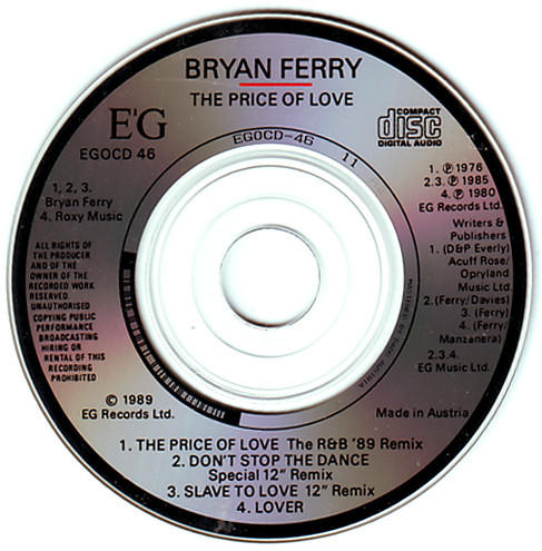 Bryan Ferry - The Price Of Love cover of release