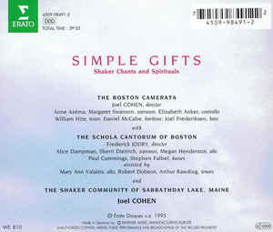 Boston Camerata, Joel Cohen (3), Schola Cantorum Of Boston - Simple Gifts cover of release