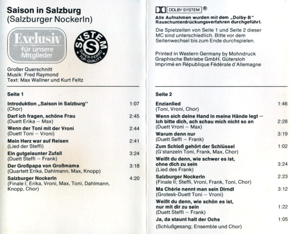 Fred Raymond - Saison In Salzburg cover of release