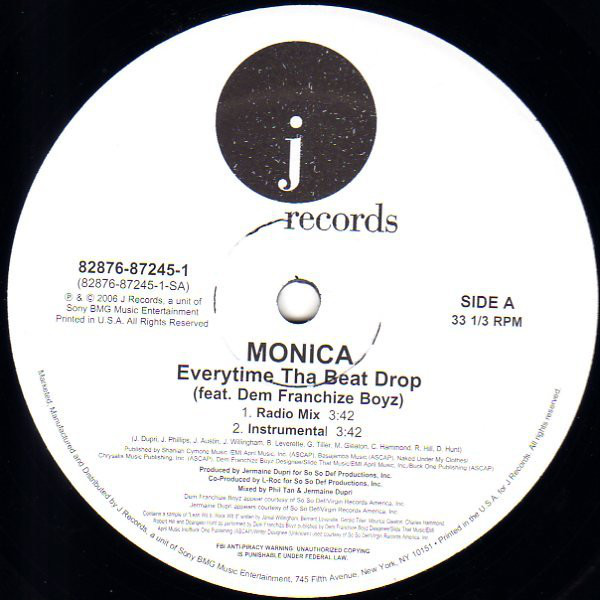 Monica, Dem Franchize Boyz - Everytime Tha Beat Drop cover of release