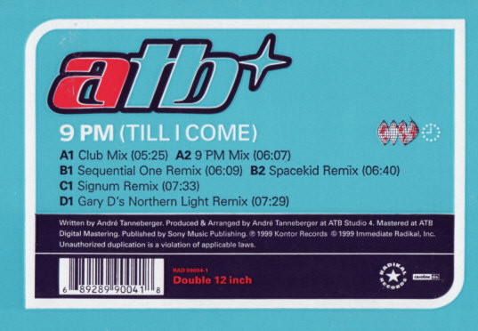 ATB - 9 PM (Till I Come) cover of release