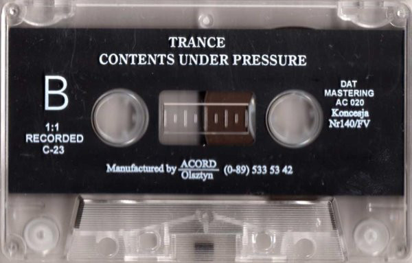 Trance - Contents Under Pressure cover of release