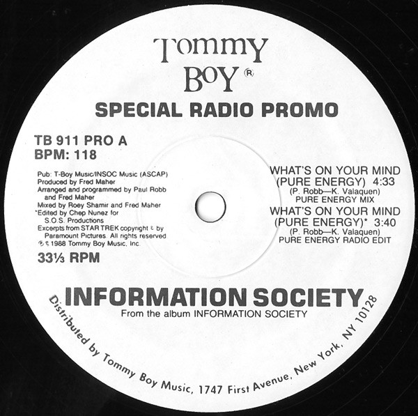 Information Society - What's On Your Mind (Pure Energy) (Special Radio Promo) cover of release