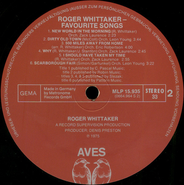 Roger Whittaker - My Favourite Songs cover of release