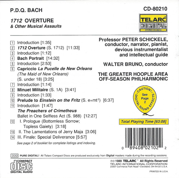 P.D.Q. Bach - 1712 Overture & Other Musical Assaults cover of release