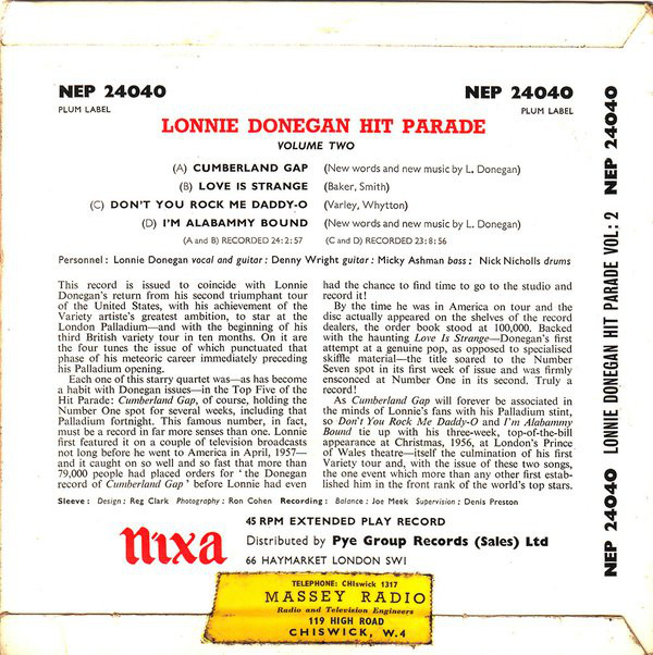 Lonnie Donegan's Skiffle Group - Lonnie Donegan Hit Parade Vol. II cover of release