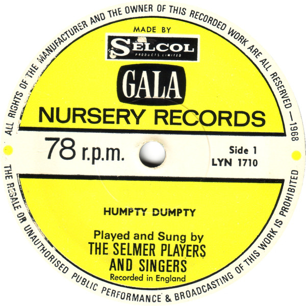 Selmer Players And Singers, The - Humpty Dumpty / Here We Go Round The Mulberry Bush cover of release