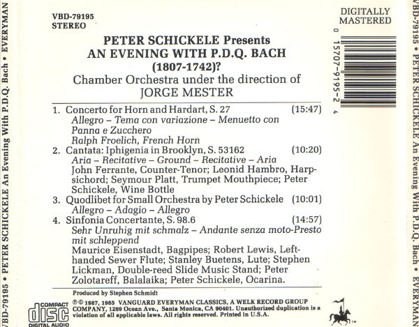 Peter Schickele, P.D.Q. Bach - An Evening With P.D.Q. Bach (1807-1742)? cover of release