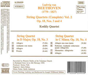 Ludwig van Beethoven - String Quartets (Complete) Vol. 2 Op. 18, Nos. 3 And 4