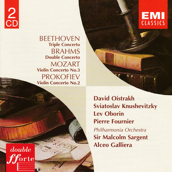 Ludwig van Beethoven, Johannes Brahms, Wolfgang Amadeus Mozart, Sergej S. Prokofiew, David Oistrach, Sviatoslav Knushevitsky, Lev Oborin, Pierre Fournier, Philharmonia Orchestra, Sir Malcolm Sargent, Alceo Galliera - Triple Concerto / Double Concerto / Violin Concerto No. 3 / Violin Concerto No. 2 cover of release