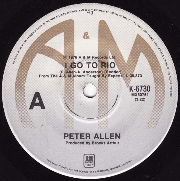 Peter Allen - I Go To Rio cover of release